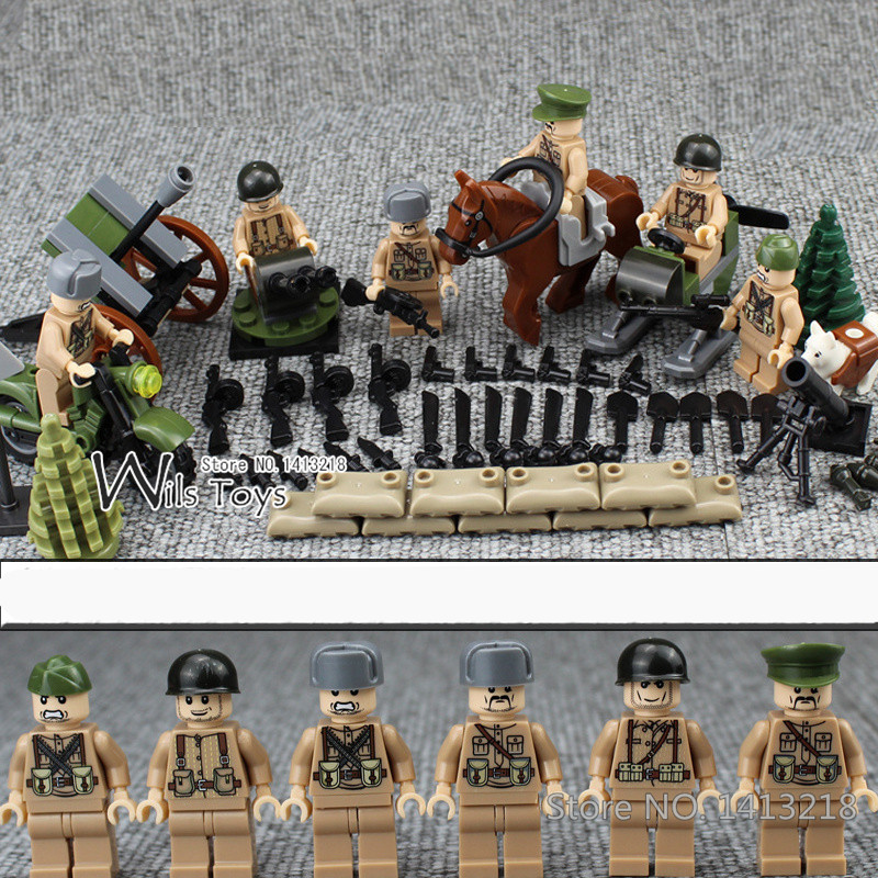 6pcs Russian Army MILITARY Special Forces Snow Soldiers WW2 CS SWAT Building Blocks Figures Educational Toys Gifts Boys Children ww2 tunisia campaign soviet union military army with 12 mini soldiers figures toys for children building blocks christmas