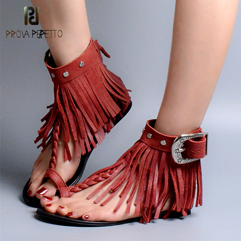 Prova Perfetto 2018 Summer Shoes Woman Sexy Peep Toe Hollow Out Sandals Female Real Leather Woven With Tassel Sandals Rome Shoe trendy women s sandals with hollow out and peep toe design