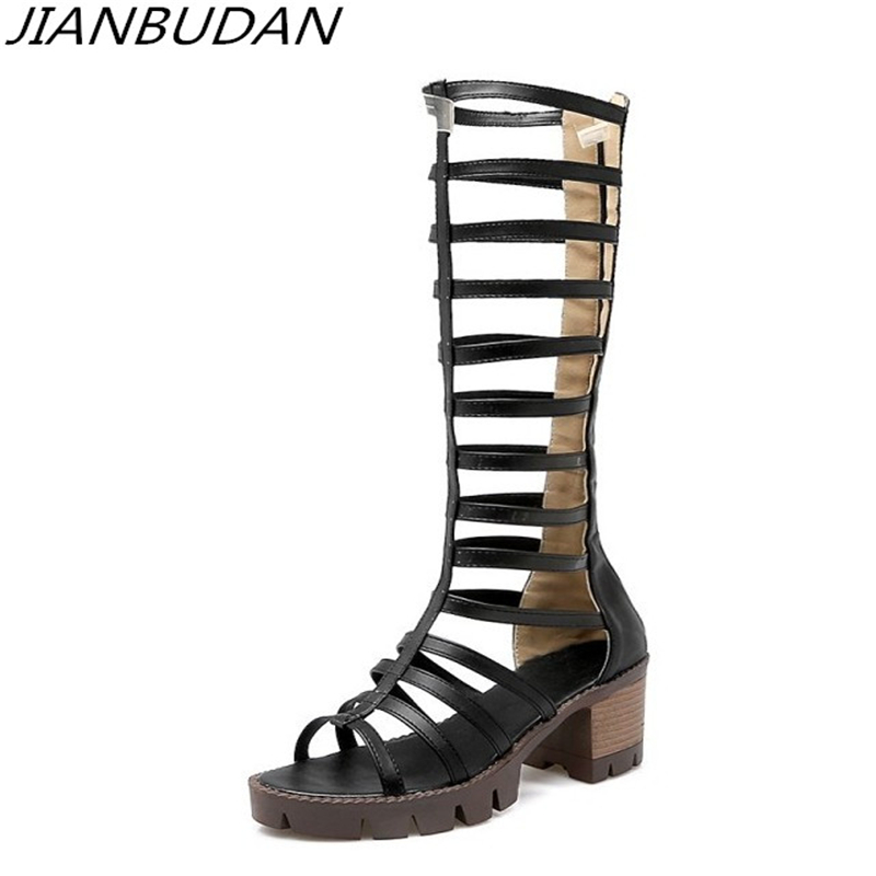 JIANBUDAN Quality pu sexy anti-skid female shoes Roman high heel summer boots Hollow breathable summer cool boots Size 34-43 2016 kelme football boots broken nail kids skid wearable shoes breathable