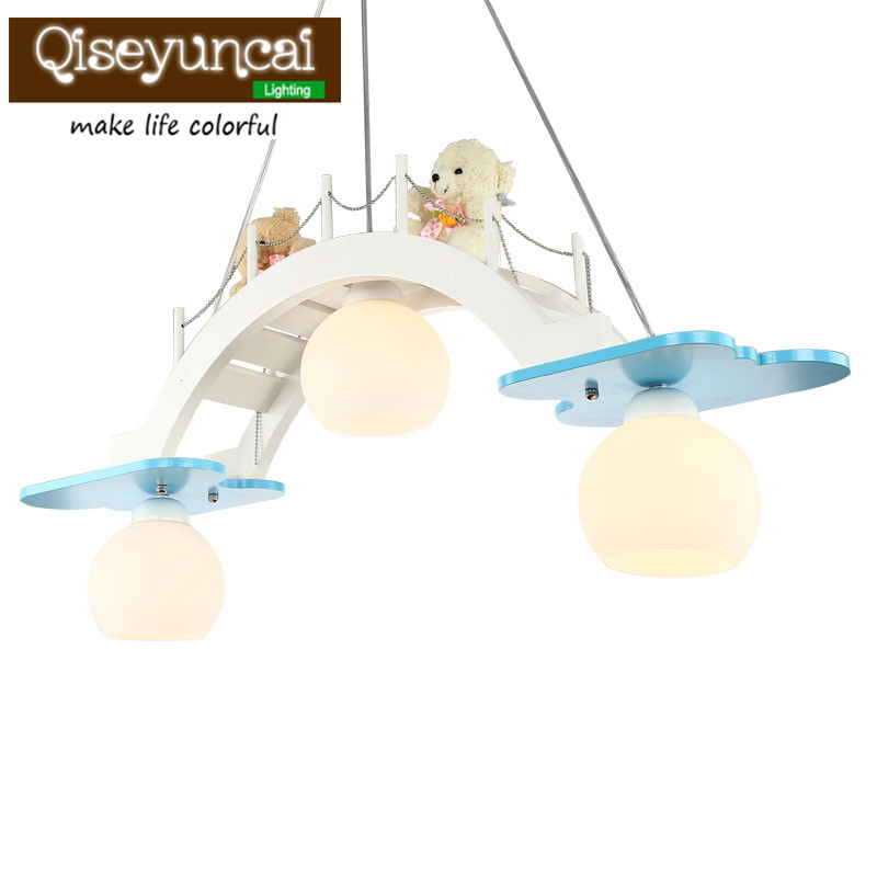 Qiseyuncai 2018 new Childrens room LED, eye protection chandelier, boys and girls room, creative crane bridge lighting