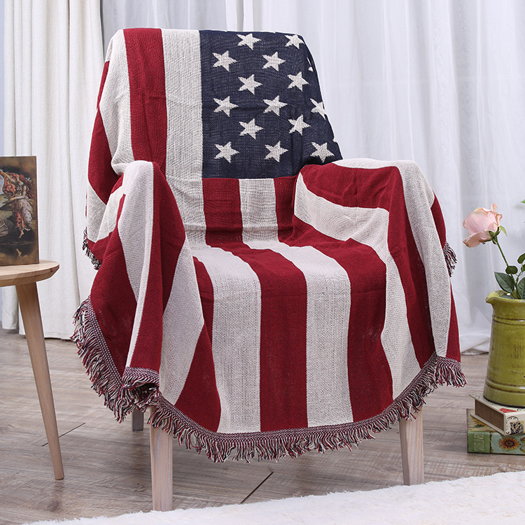1pcs Flag Nap Travel Tassel Blanket Sofa Bed Sleeping Cobertor Chair Decorative Throw Stitching Blanket Home Decoration TZ57006