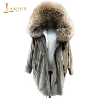 LVCHI 2019 Parker Winter Women Coats Medium Wool liner Fox jackets for women Corduroy Bat Sleeved Big Fur Collar clothes