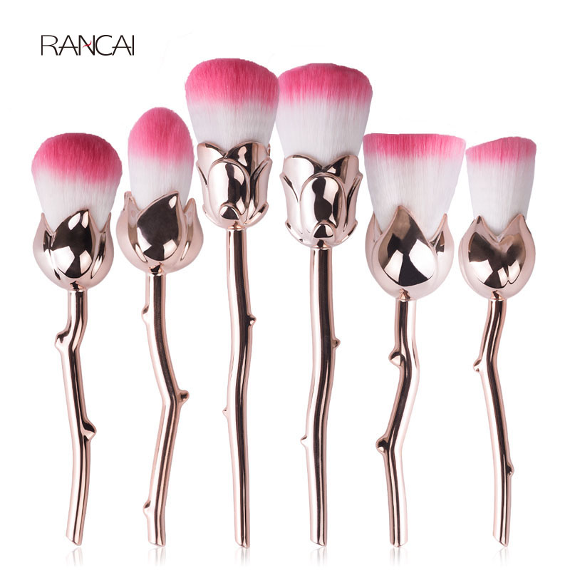 Professional 6PCS Gold Makeup Brushes Set Rose Flower Powder Blusher Foundation Cream Face Brush Collection Cosmetic Beauty Kits sy 8pcs portable professional makeup brushes set for bb cream powder beauty makeup
