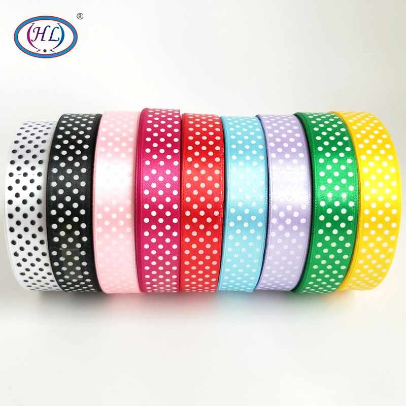 HL 18MM 5yards/9yards Dots Satin Ribbons Wedding Party Decorations DIY Weaving Gift Box Wrapping Belt Making Hairbows