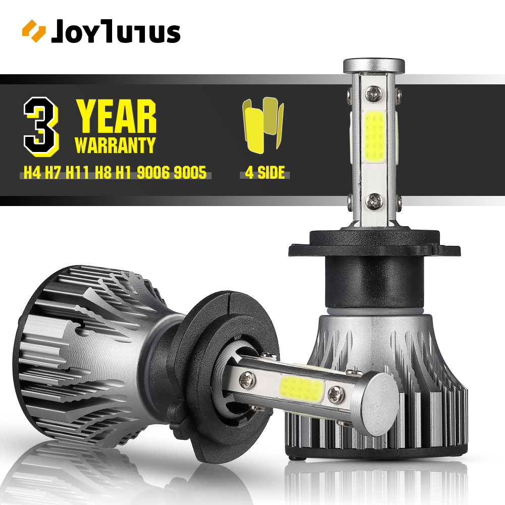 4 Sides LED Headlight H7 LED H4 Car Headlight Bulbs 2pcs 6500K 10000LM 360 Degree High Power LED Automotivo