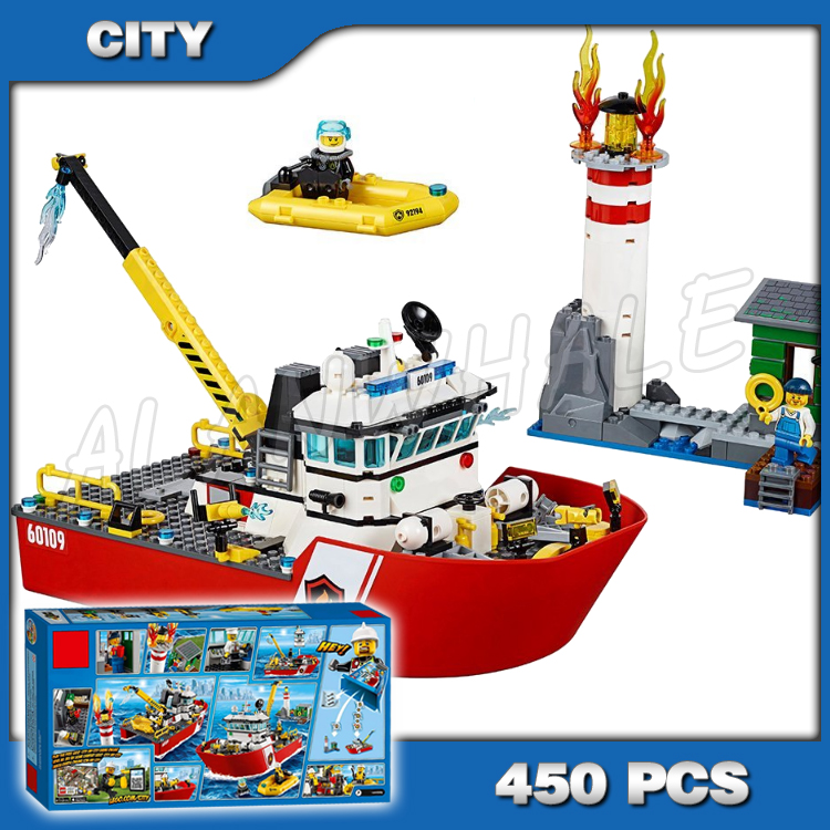 450pcs New City Fire Ship Boat Rescue Lighthouse Firefighter 10830 Model Building Blocks Children Toys Compatible with Lego image