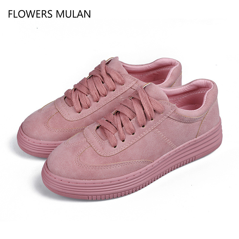 New Arrival Suede Pink Leather Casual Shoes Round Toe Lace Up No-Slip Soft Rubber Heel White Cross Tied Girl Footwear Sport Shoe