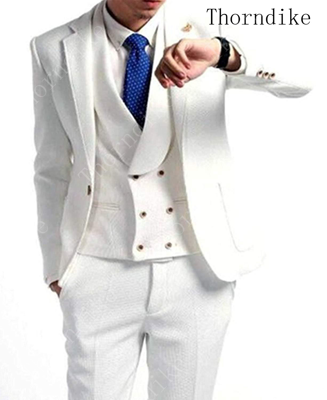 Thorndike Handsome One Button Groomsmen Notched Lapel Tuxedo Men Suits for Wedding/Prom/Dinner Best Man Blazer Jacket+Pants+Vest(China)