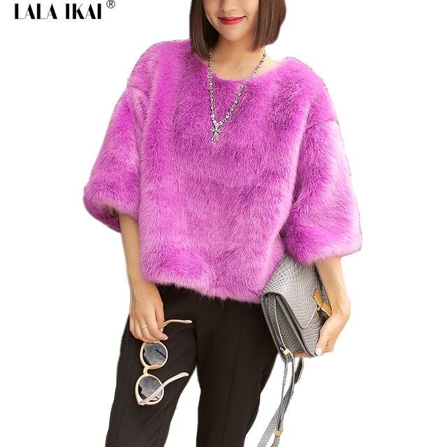 sale retailer a5e38 9603d US $66.48 |Rosa pelliccia di volpe giubbotti cappotti donna magliette e  camicette manicotto dei tre quarti furry inverno giubbotti cappotti donne  ...