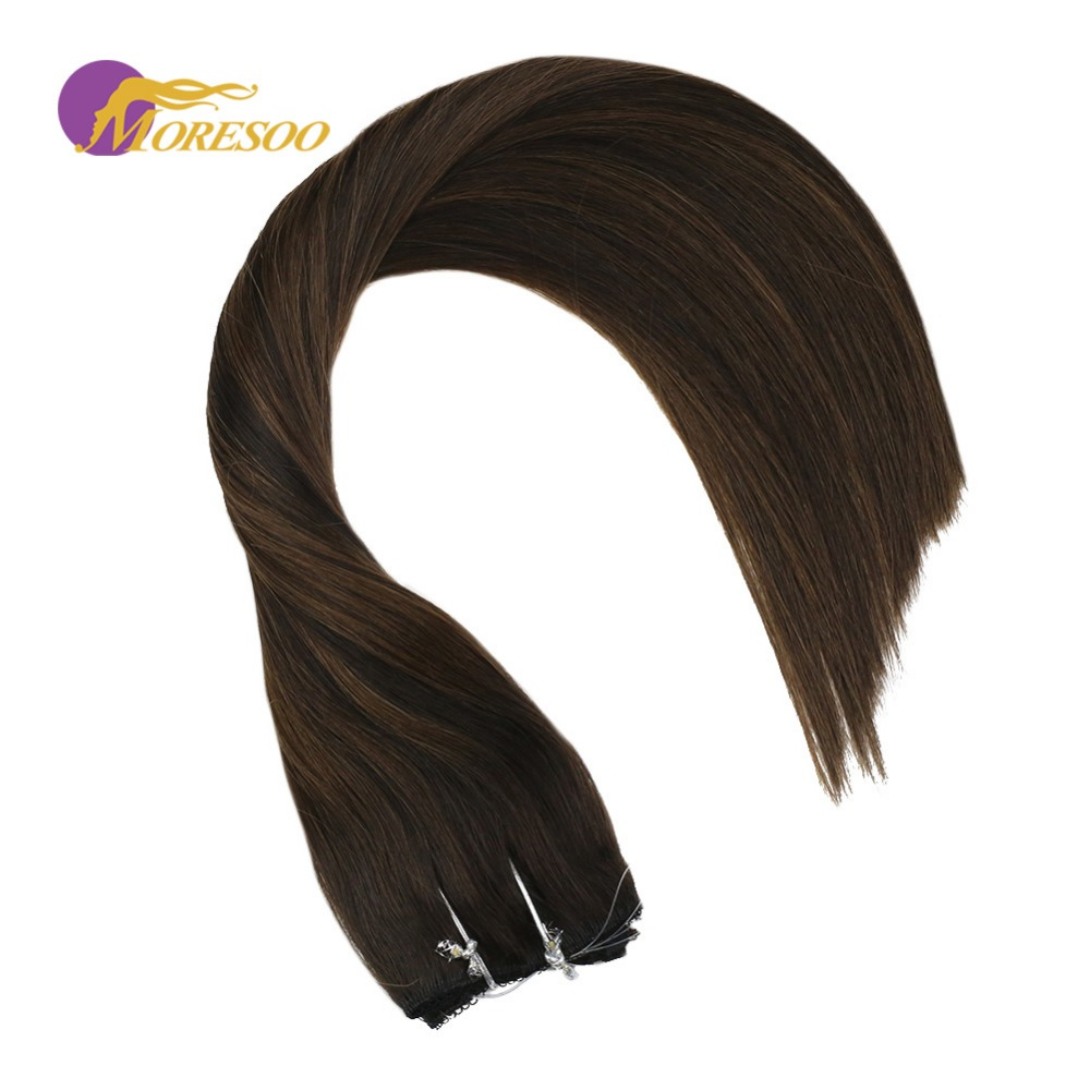 Moresoo Flip In Real Remy Human Hair Extensions Balayage Color Darkest Brown #2 With Brown #6 Fishing Line Flip On Hair 50-100G