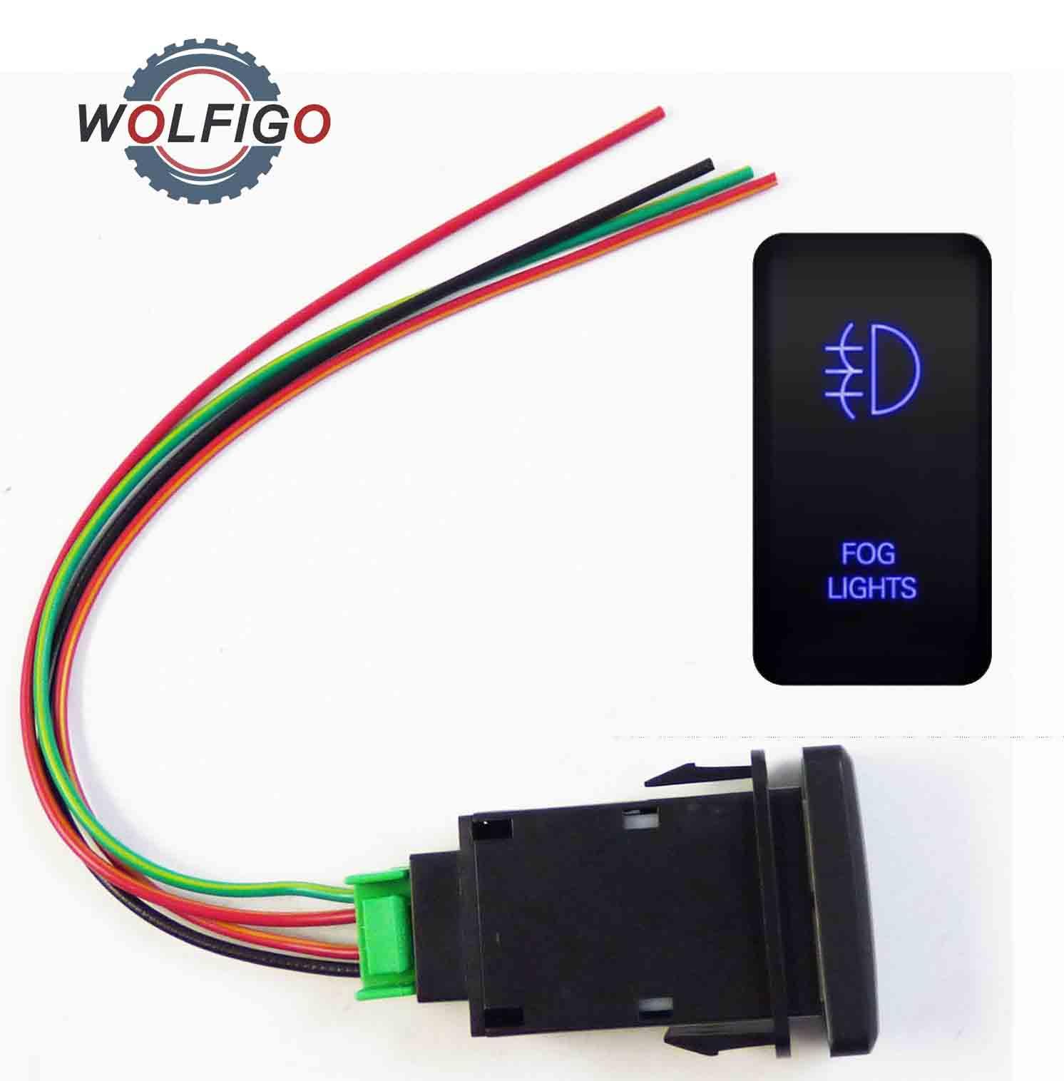 Wolfigo 12v Push Switch Blue Led Light Fog Light Button