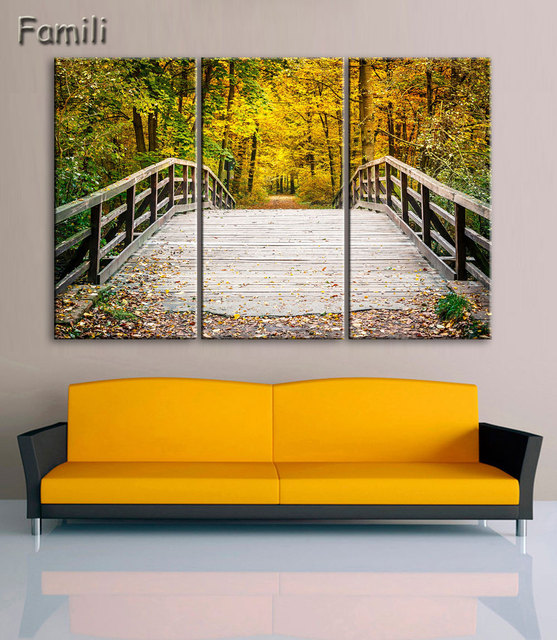 3 piece canvas art Landscape Maple Tree Canvas Painting Modern ...
