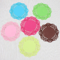 6 Pieces Set Kitchen Dining Table Mat Six Colors Style Dia 9 5cm Tea Cup Coffee