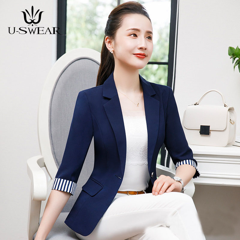 U-SWEAR Summer Autumn New Office Ladies Blazers Women Plus Size Business Pocket Suit Female Navy Black Elegant Blaser Feminino