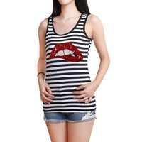 Fashion Large Size Women Striped Sequined Red Lips Casual Slim Summer Elastic Skinny Sleeveless Vest Tank