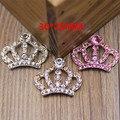 Nueva Llegada 20 UNIDS Plata Oro Rosa Rhinestone Crystal Princess Royal Crown Botón Parches Apto para Niñas Joyería Del Pelo Del Arco centro