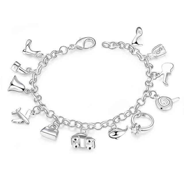 Pretty Bracelets 925 Sterling Silver AAA Zircon Crystal Bracelets 12 Pendants Charms Bangles For Woman New Fashion Jewelry