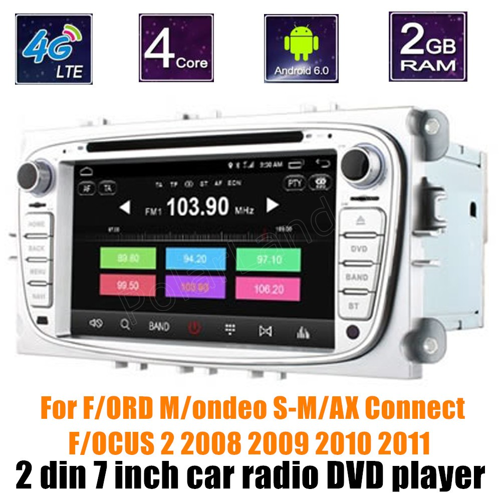 bluetooth 7 inch 2 din Android 6 0 Car DVD Radio For F ORD M ondeo