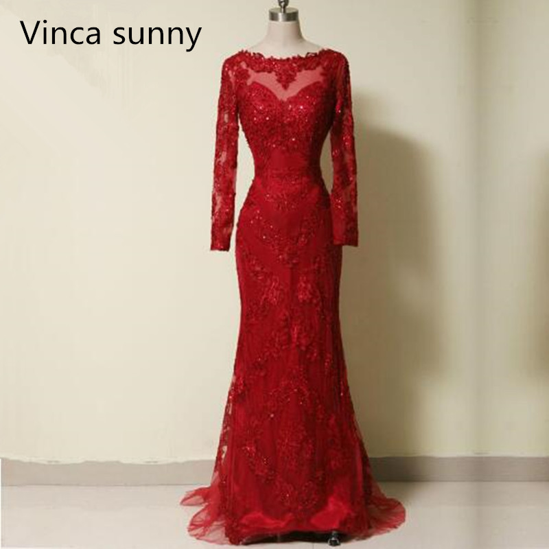 2019 Exquisite Real Photo Mermaid Evening Dresses Celebrity Lace Applique Sequin Beaded Red Long Sleeve Sweep Train Bridal