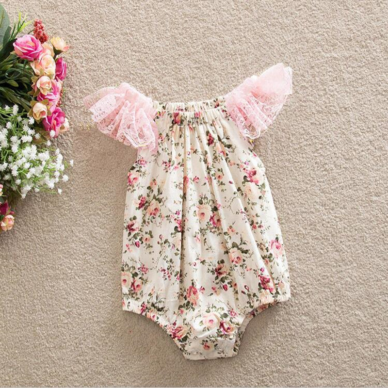 662eef34dab8 Baby Girl Ruffle Sleeve Romper Sunsuit Floral Bubble Romper Pattern ...