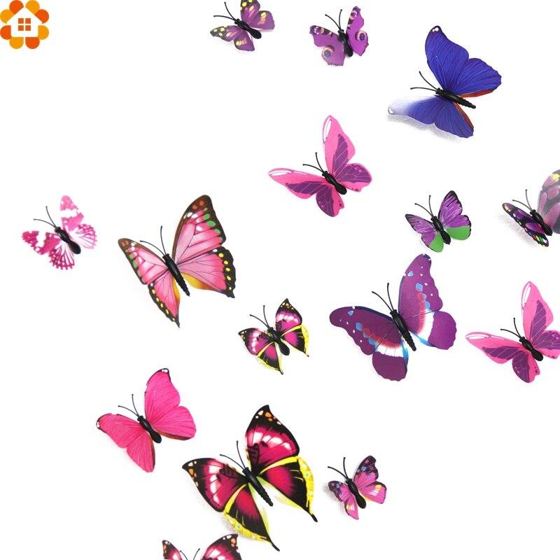 Nueva llegada! 12 unids/set diy del pvc 3d imán de la mariposa pegatinas de pare