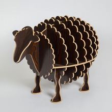 100% wood sheep animal table European DIY Arts Crafts Home Decorative wood craft gift desk self-build puzzle furniture decor