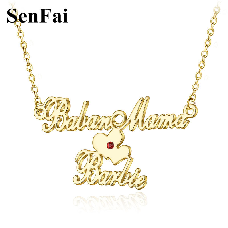 2018 Senfai Custom name necklace Personalized Family Love Heart Couples Stainless steel For Women men Baby Boy Girl jewelry gift