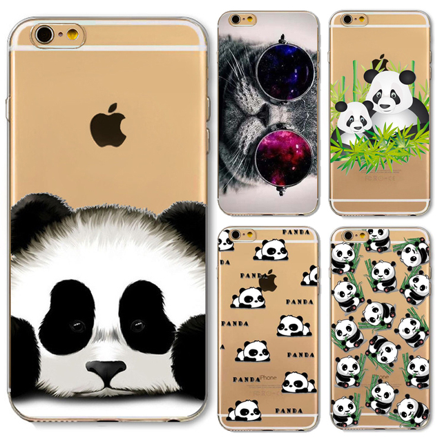 cheap for discount be7fc 84732 US $0.87 44% OFF|Napeyin Panda Case for iphone 6 6s Plus 6Plus 5s SE 4 4s 5  5C Cats Animals soft silicone transparent coque cover skin back shell-in ...