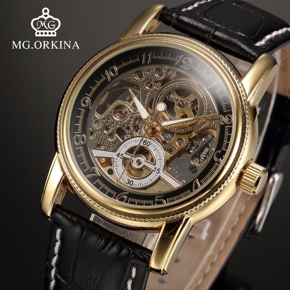 Automatic Gold Skeleton Watch Men MG ORKINA Mechanical Black Leather Fashion Luminous Wrist Watches Montre Automatique