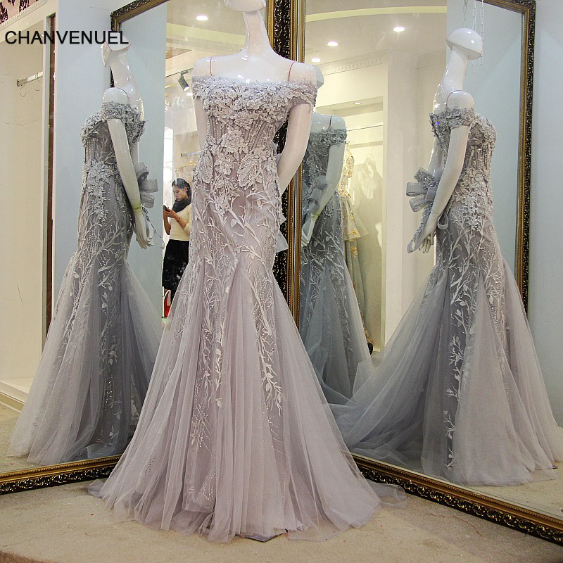 LS56557   Prom     dresses   Grey off shoulder lace up back beaded sequins lace mermaid Party formal   dress   Real Photos