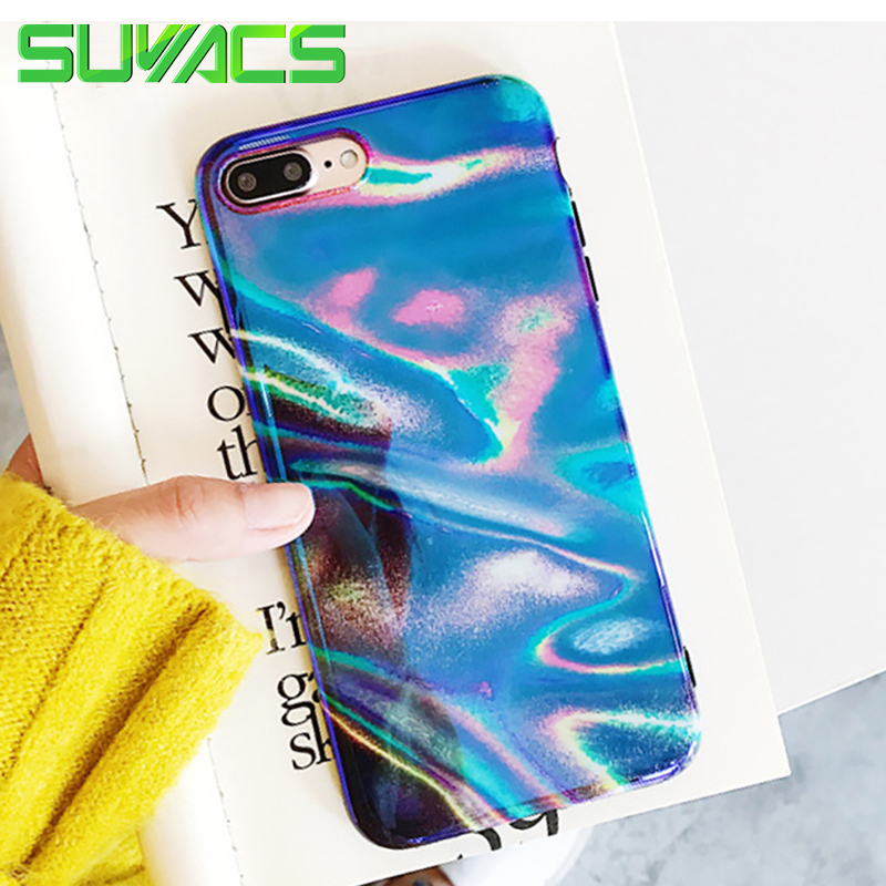 SUYACS For iPhone 6 6S 7 8 Plus X Case Blu-Ray Colorful Light Glossy Soft Silicon IMD Phone Cases Back Cover Fundas Coque Bags