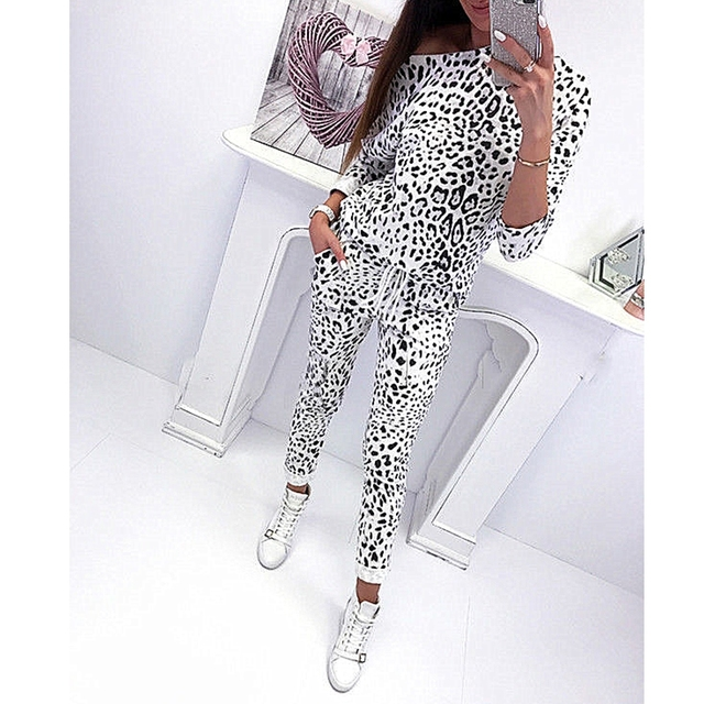 70694fab38bf Preço baixo Vogue 2 pcs mulheres estampa de leopardo Treino ...