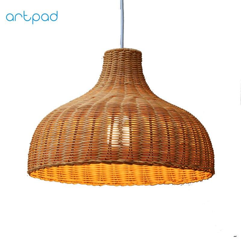 Artpad Chinese Style Diy Bamboo Wicker Rattan Pendant Light Lamps