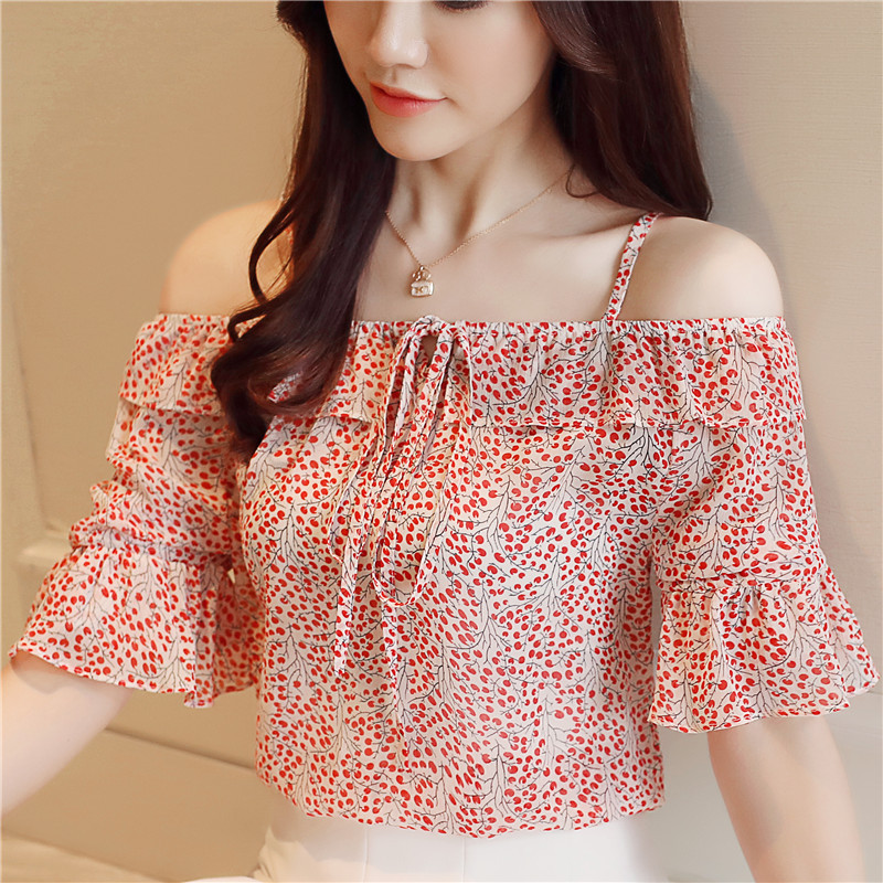 2018 Sweet Girl Slash Neck Half Sleeve Print Chiffon