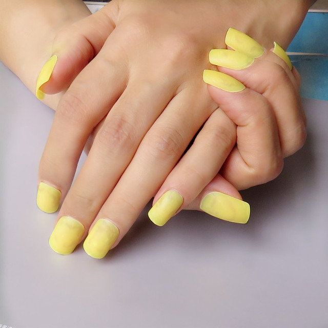 Beautiful Lemon Yellow Matte False Nails Candy Color Plastic Diy Full Covertip Manicure Tools 24pcs