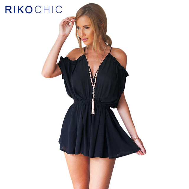 4c32ab3f4a56 CLEARANCE SALE Cold Shoulder Ruffled Black Sexy Elegant Jumpsuit Girls  Backless Jumpsuits Women Romper Playsuit Overalls S273