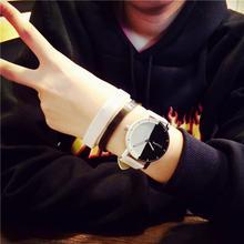 Модные повседневные женские Смотреть мужской женский студенты минималистский черный и белый ретро пояс пару аналоговых сплава кварцевые часы 50 P