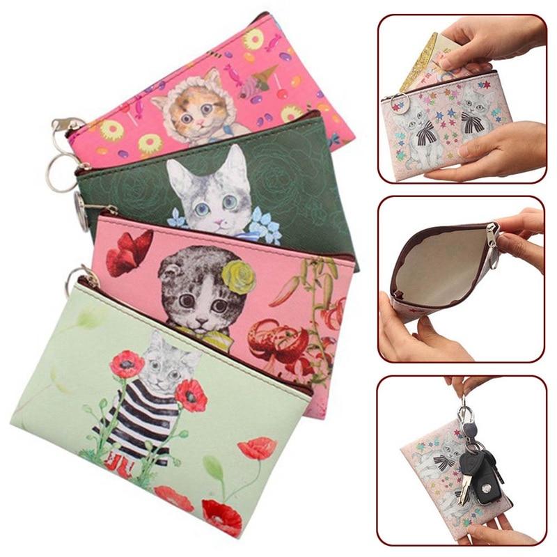 New Cartoon Cat Coin Purse Children Clutch Small Wallet Women Coin Wallets Kids Cute Zipper Bag Pouch Holder Change Purses