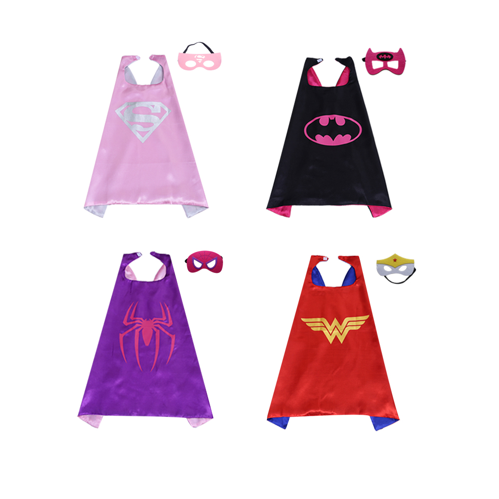 Magiczone 70*70cm Superhero capes masks set girls cosplay costumes Kids Halloween Christmas Party favor gift capes 4sets/pack