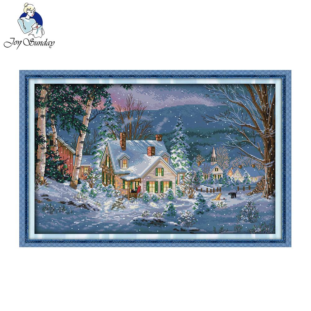 Joy Sunday The Snowy Night Of Christmas Pattern Counted Stamped Cross Stitch as Christmas or Halloween gift for kids and friends