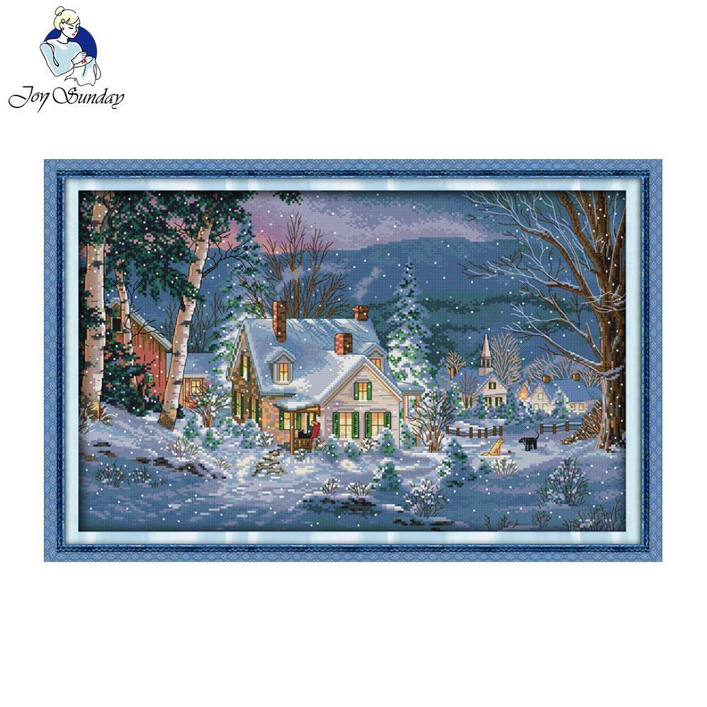 Ուրախ կիրակի The Snowy Night of Christmas Pattern- ը հաշվում է դրոշմված խաչի Էջանշանը որպես Սուրբ Ծննդյան կամ Հելոուինի նվեր երեխաների և ընկերների համար