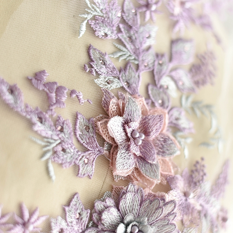 Color stereoscopic embroidery hot Diamond Beads lace flowers hand made DIY lace dress patches decorative flower powder in Lace from Home Garden