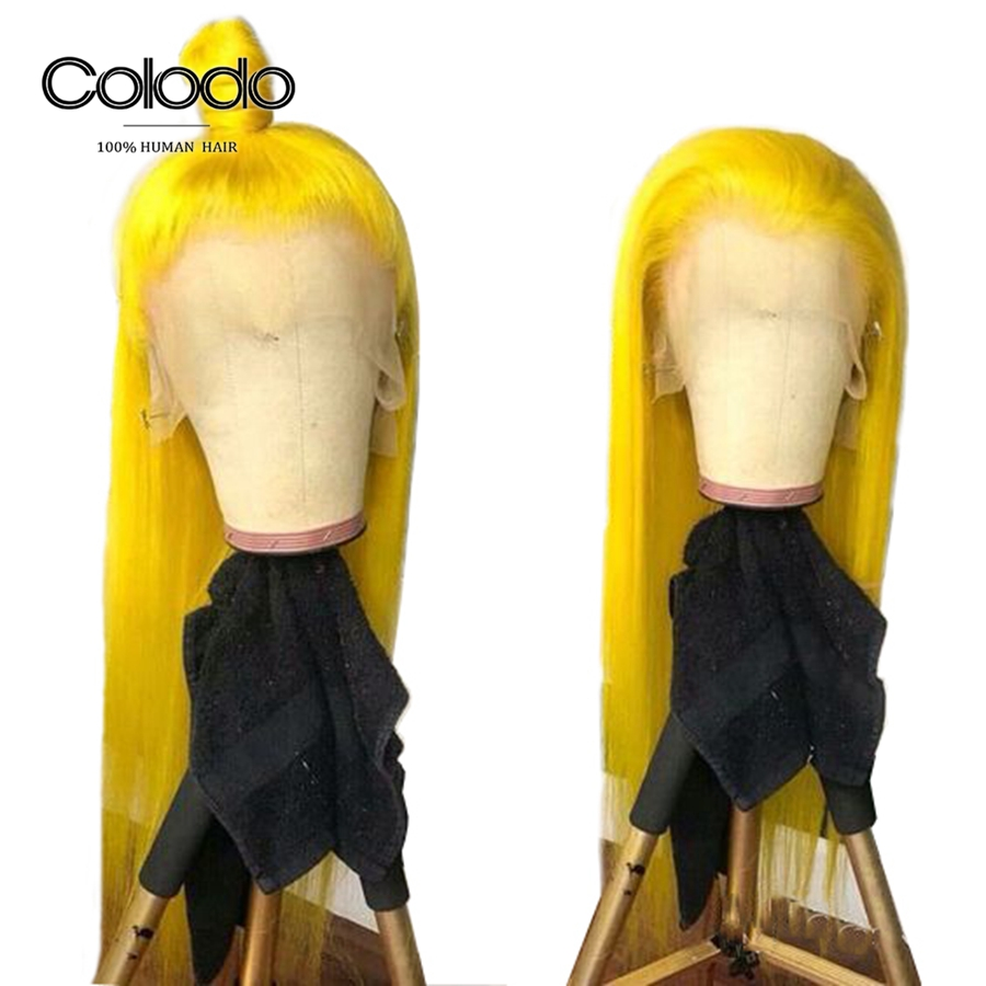 COLODO Brazilian Remy Hair Yellow Wig 13X4 Lace Frontal Orange Human Hair Wigs for Women Middle