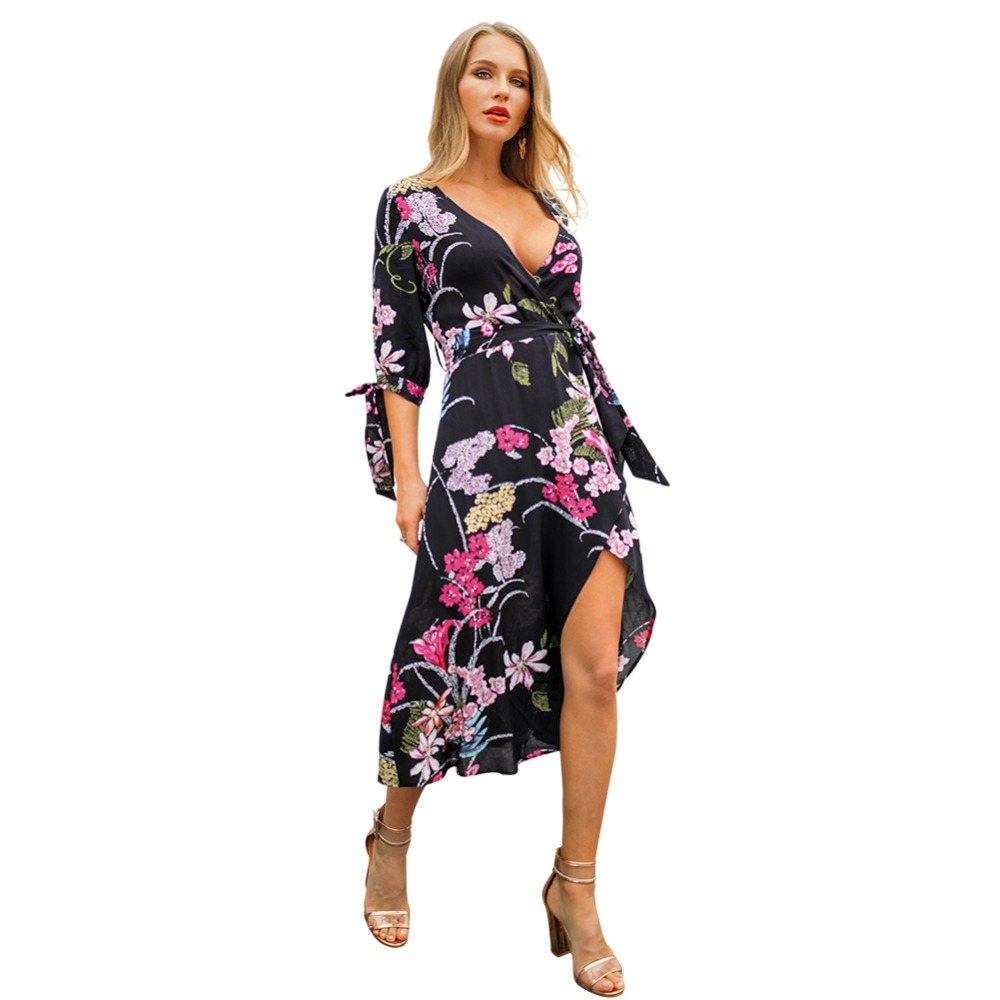 summer long dress 2019 women deep v neck wrap dress plus size clothing casual black flower dress ladies loose flowy dress C3102 in Dresses from Women 39 s Clothing