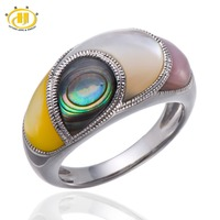 HUTANG Multi Color Mother of Pearl & Abalone Shell Solid 925 Sterling Silver Ring Unique Design High Quality Free shipping