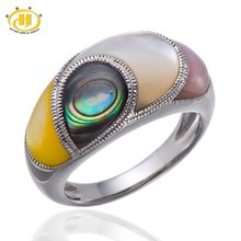 f64ab9d8d1e91d HUTANG Multi Color Mother of Pearl & Abalone Shell Solid 925 Sterling  Silver Ring Unique Design High Quality Free shipping