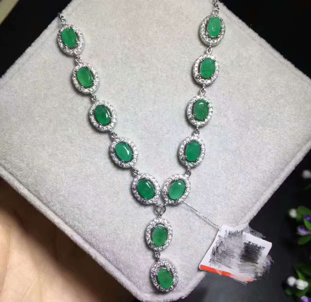 Natural green emerald gem Pendant necklace S925 sterling silver Natural gemstone necklace Luxury elegant Round party