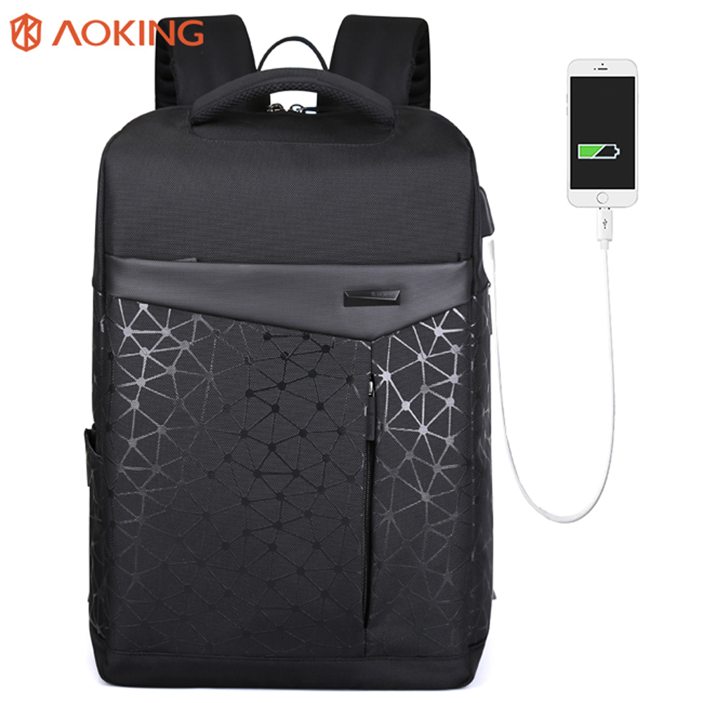 Aoking водостойкий мужской рюкзак с анти-вором Карманный usb зарядка Студенческая сумка для ноутбука рюкзак городская модная школьная сумка
