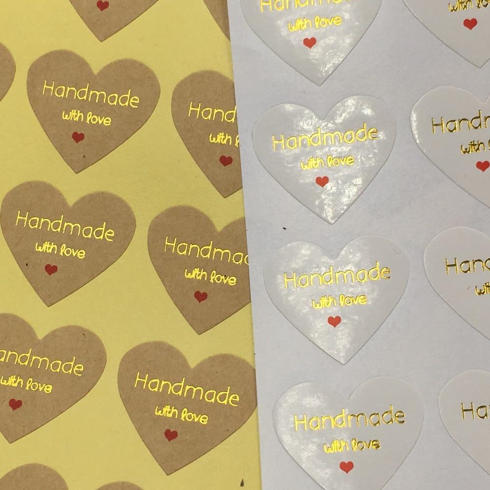 Etiquetas De Regalo Caramelo Papel Blanco Corazón Etiquetas Adhesivas Pegatinas sellos de embalaje