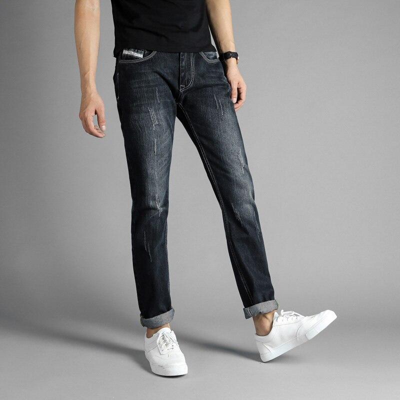 DSEL Brand Men Jeans White Washing Denim Stripe Jeans Men Slim Fit Fashion Retro Design Ripped Biker Jeans For Mens Casual Pants 2017 fashion patch jeans men slim straight denim jeans ripped trousers new famous brand biker jeans logo mens zipper jeans 604